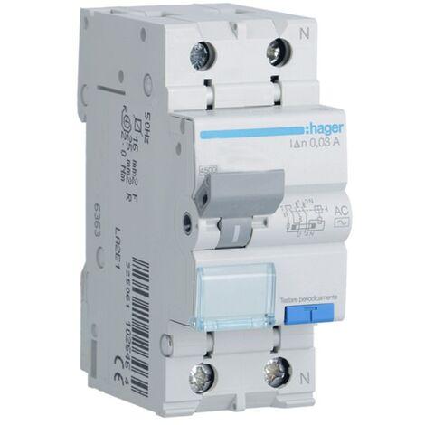 Hager 1P+N 30MA 20A magnétothermique disjoncteur à courant résiduel ADC820H