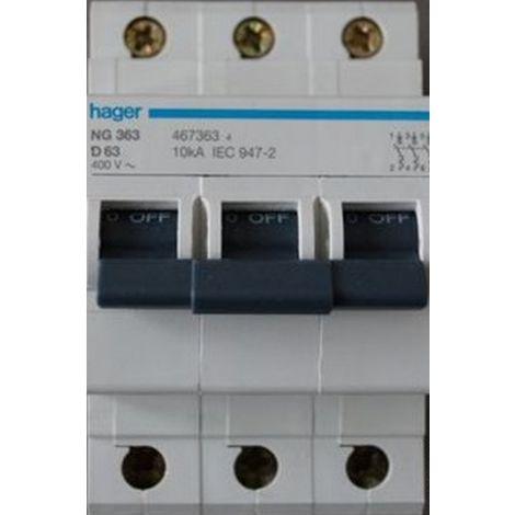 Hager 467.363 interruptor 3P / 63A / D curva / 10kA