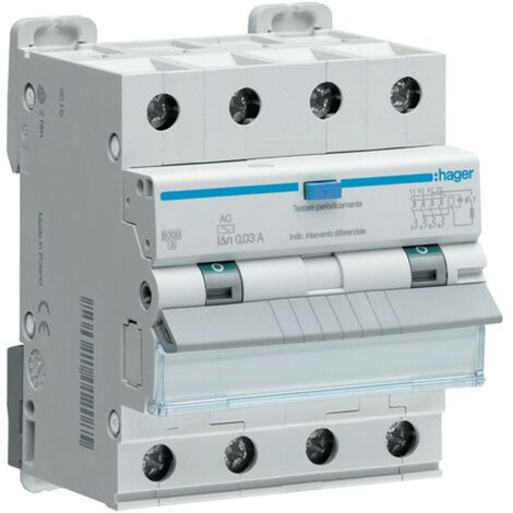Hager 4P 300MA 20A magnétothermique disjoncteur à courant résiduel AFP470H