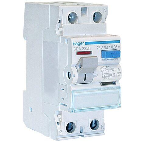 Hager disjoncteur à courant résiduel pur 2P 25A 30MA A 2 modules CDA225H