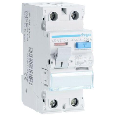 Hager disjoncteur à courant résiduel pur 2P 40A 30MA A 2 modules CDA240H