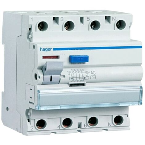 Hager disjoncteur différentiel 4P 25A 300MA AC 4 modules CFC425H