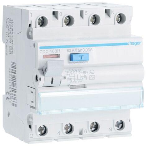 Hager interrupteur différentiel 4P 63A 30MA AC 4 modules CDC463H
