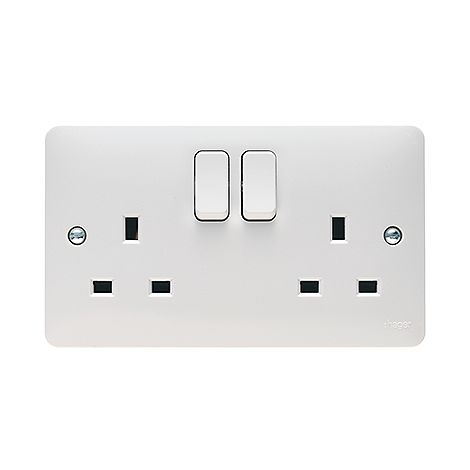 Hager Sollysta 2 Gang DP Switched Dual Earth Socket (WMSS82)