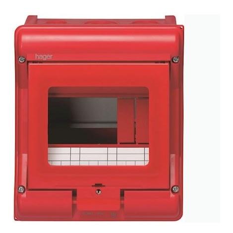 Hager VE105A Coffret sécurité vector IP55 IK07 cl.II équipé p chaufferie 4+2 mod h190xl165mm