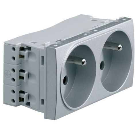 Hager WS122T Double socket 2P+T - Systo titane - 16A