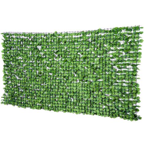 Haie artificiel érable brise-vue décoration rouleau 3L x 1,5H m feuillage réaliste anti-UV vert