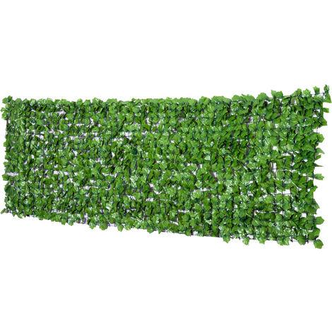 Haie artificiel érable brise-vue décoration rouleau 3L x 1H m feuillage réaliste anti-UV vert