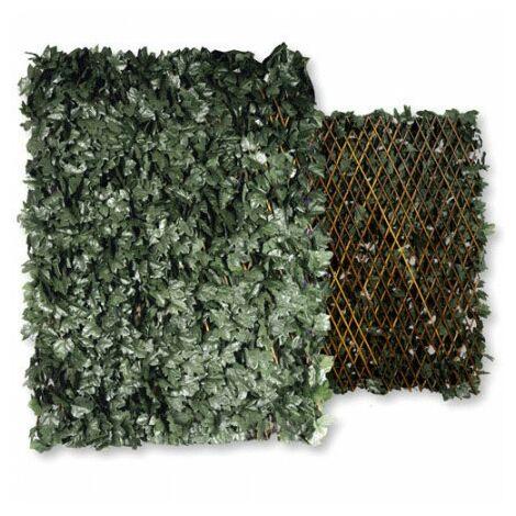 Haie artificielle à feuilles avec treillis extensible 1x2 m