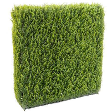 HAIE artificielle haute gamme Spécial extérieur / Cyprès artificiel Juniperus vert - Dim : 105 x 23 x 100 cm