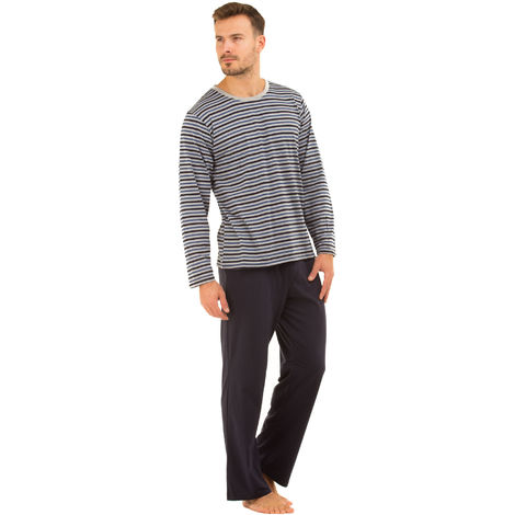 Haigman Crew Neck Striped Long Pyjama Set Loungewear 3072