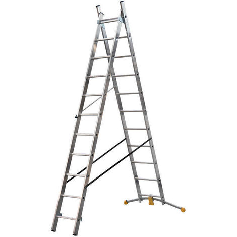 HAILO 1412-801 - Escalera combinada de 2 tramos con estabilizador curvo HobbyLOT (2x9)