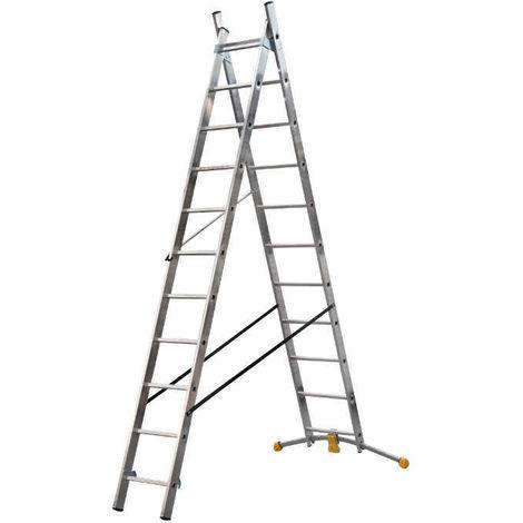 HAILO 1413-801 - Escalera combinada de 2 tramos con estabilizador curvo HobbyLOT (2x11)