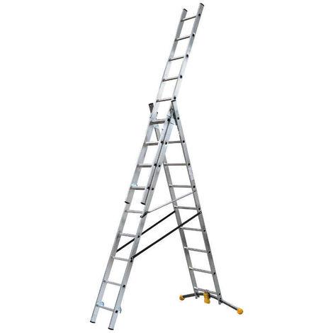 HAILO 1422-801 - Escalera combinada de 3 tramos con estabilizador curvo HobbyLOT (3x9)