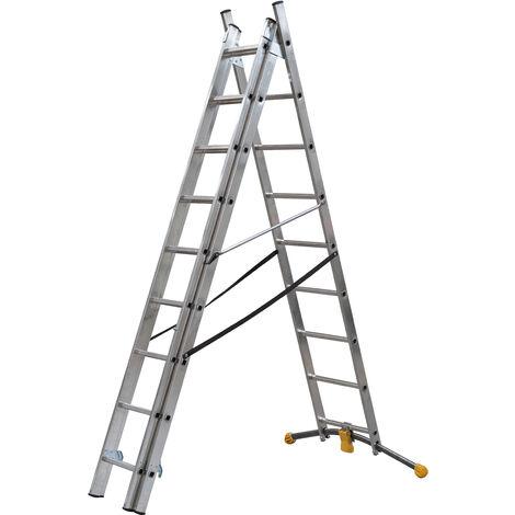 HAILO 1423-801 - Escalera combinada de 3 tramos con estabilizador curvo HobbyLOT (3x11)