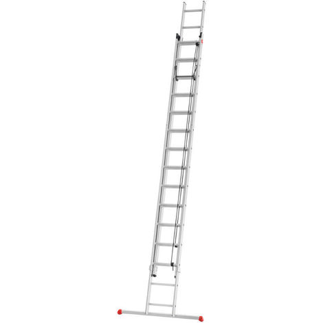 HAILO 7288-007 - Escalera aluminio 2 tramos corredera con cuerda ProfiStep Duo (2x18 peldaños)