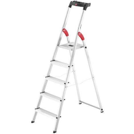 HAILO 8160-507 - Escalera de aluminio de tijera L60-EasyClix (5 peldaños)