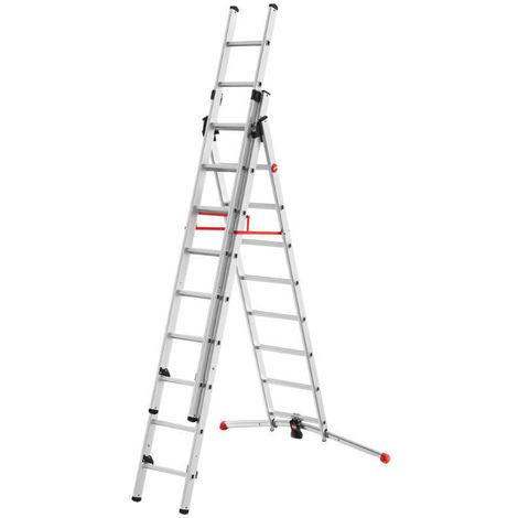 HAILO 9309-507 - Escalera aluminio combinada 3 tramos con estabilizador curvo ProfiLOT Combi (2x9 + 1x8 peldaños)