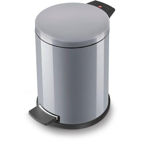 Hailo Collecteur de déchets à pédale PROFILINE SOLID 14 l - tôle d'acier, seau intérieur en plastique - argent