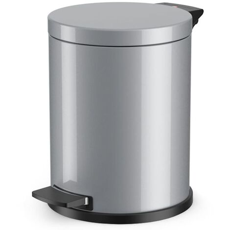 Hailo Collecteur de déchets à pédale PROFILINE SOLID 14 l - tôle d'acier, seau intérieur galvanisé - argent