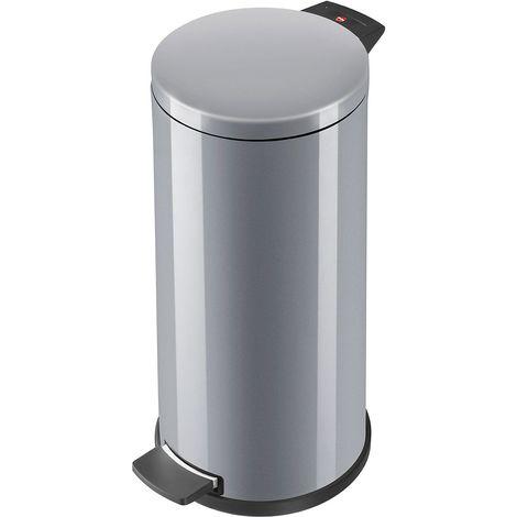 Hailo Collecteur de déchets à pédale PROFILINE SOLID 20 l - inox, seau intérieur galvanisé - inox