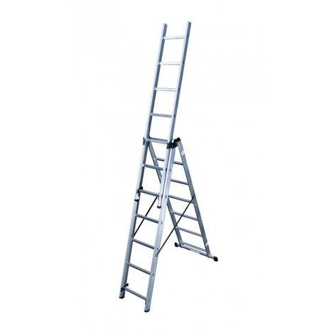 Hailo - Echelle transformable 3 plans en aluminium 3 x 7 échelons - HobbyStep