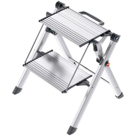 Hailo Escalera con 2 peldaños Mini Comfort 45 cm aluminio 4310-100 - Plateado