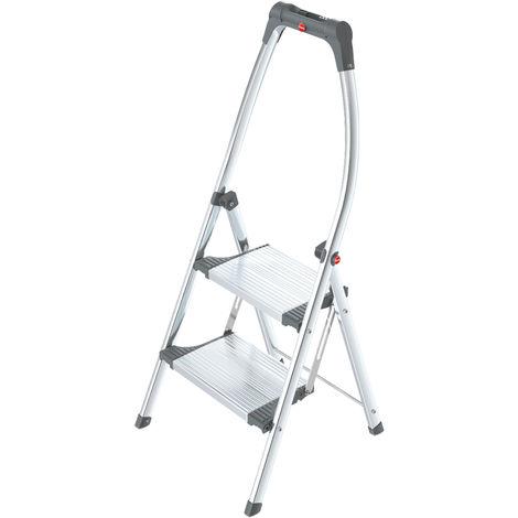 Hailo - Escalera plegable de aluminio, 2 escalones, 225 cm de altura - LivingStep Plus
