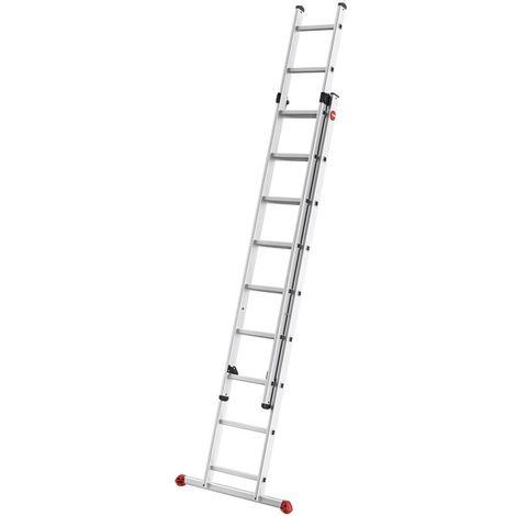Escalera industrial 2 tramos de aluminio 2 x 18 pelda/ños Hailo ProfiStep-Duo