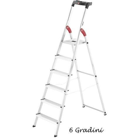 Hailo Scala 6 Gradini Alluminio Doppia Forbice Portautensili Scaletta Da Interno