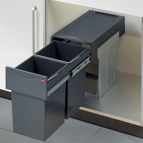 Hailo Tandem Abfalltrennsystem Einbaumülleimer TA Swing Vollauszug 2x15 Liter