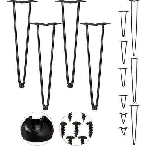 Hairpin Legs, 4er Set, 2 Streben, Metall, Haarnadel Tischbein für Hocker, Tisch & Schrank, 45 cm hoch, schwarz