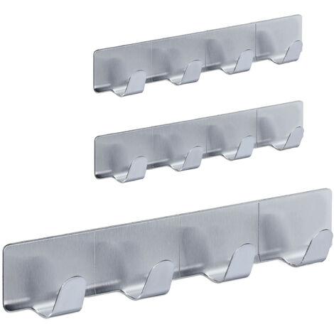 Hakenleiste selbstklebend, 3er Set, je 4 Handtuchhaken, Edelstahl, Bad & Küche, 16 cm, Schlüsselhaken, silber