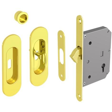 Hakenschloss Set für Schiebetüren, mit Schlüssel, ovale Türrosette mit Griffmulde, gold