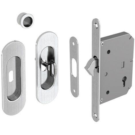 Hakenschloss Set für Schiebetüren, mit Schlüssel, ovale Türrosette mit Griffmulde, Nickel gebürstet