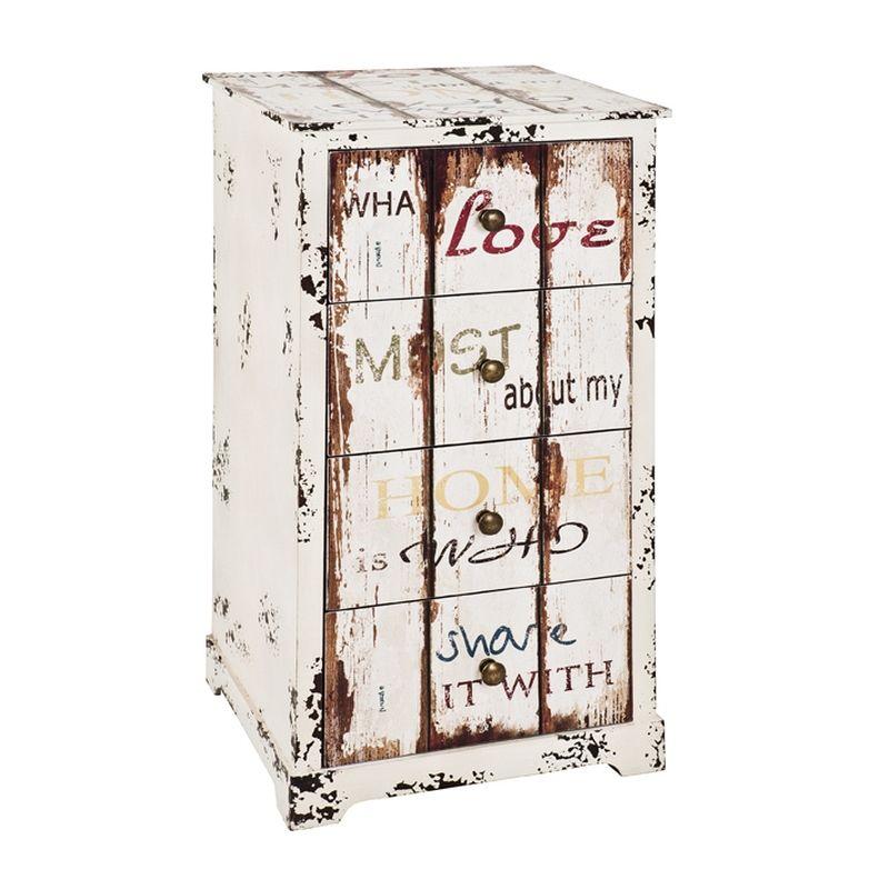 Kommode 27947, mdf mit Dekor Schriftzug In Vintageoptik und 4 Schubladen, montiert - Haku
