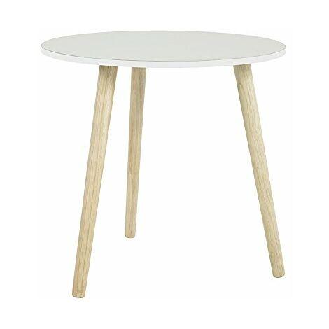 Haku Moebel Table d\'appoint, Bois, Nature-Blanc, 48 x 48 x 47 cm