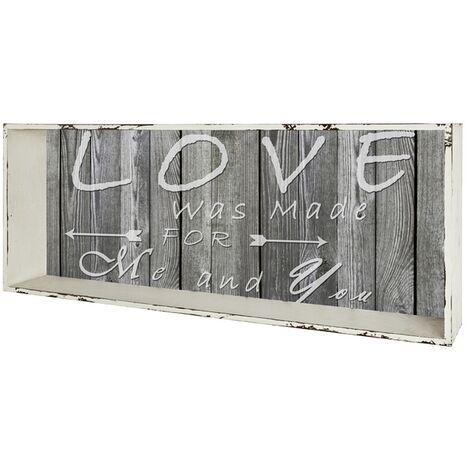 Haku Wandregal 27927, aus mdf, Außenrahmen In weiß gewischt, Innenwand mit Schriftzug In Vintageoptik, montiert