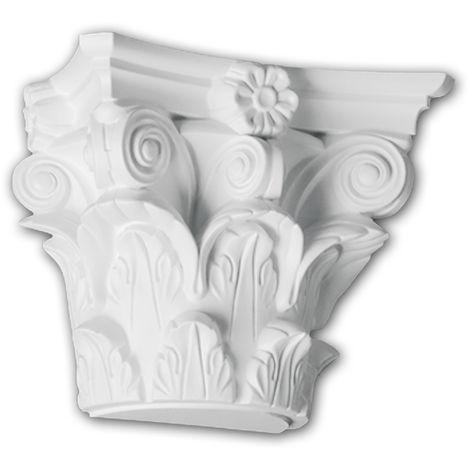 Halbsäulen Kapitell PROFHOME 115010 Säule Zierelement Korinthischer Stil weiß