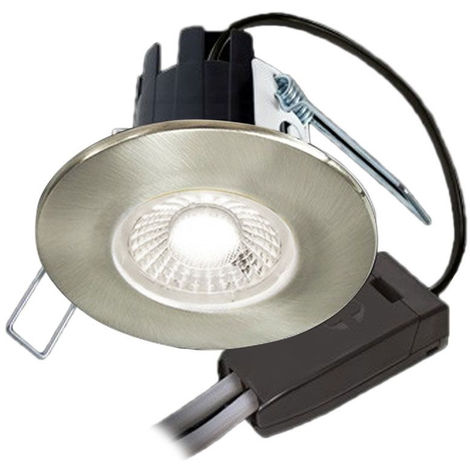 Halers H2 Lite Flicker Free Dimmable Fire Rated LED Downlight Brushed Steel Warm White 3000K with Connector