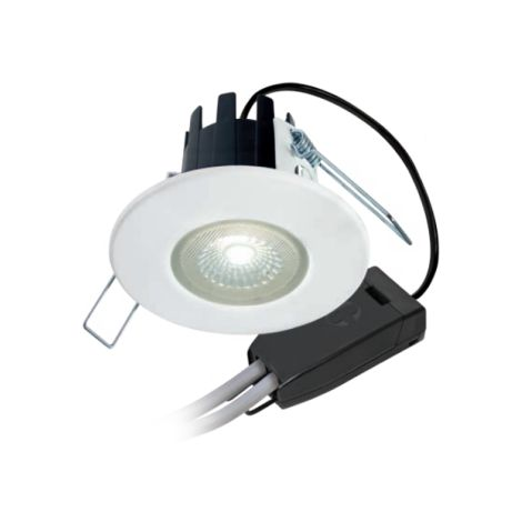 Halers H2 Lite Flicker Free Dimmable Fire Rated LED Downlight Matt White Warm White 3000K with Connector