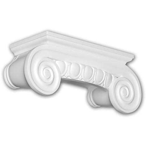 Half column capital Profhome 415202 Exterior trim Column Facade element Ionic style white