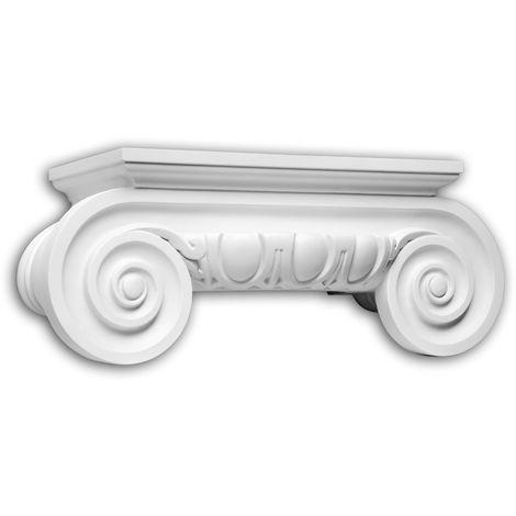 Half column capital Profhome 445201 Exterior trim Column Facade element Ionic style white