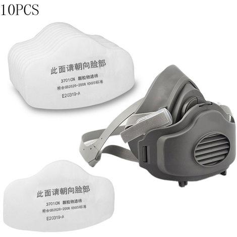 Half Face Gas Mask Respiratory Dust-proof Masks Respirator +10pcs 3701CN Filter Cotton Compatible with 3M 3200 Gas Mask Dust Filter