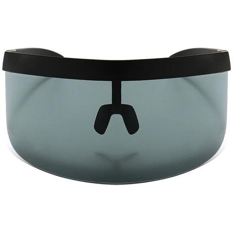 Half Face Mask Sun Protection Goggles Large Mirror, Black frame black