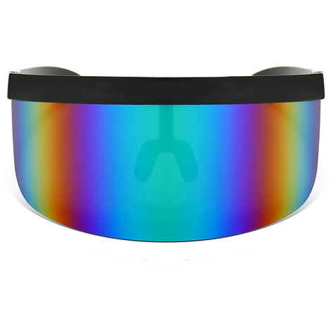 Half Face Mask Sun Protection Goggles Large Mirror, Black frame colorful blue
