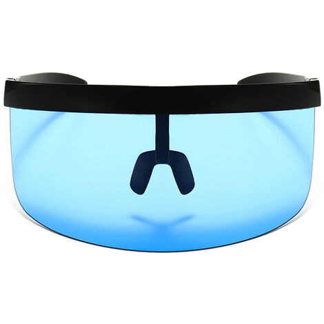 Half Face Mask Sun Protection Goggles Large Mirror Sun Glasses, Black frame blue