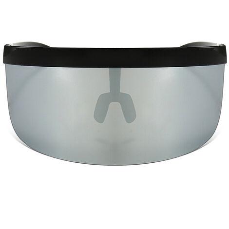 Half Face Mask Sun Protection Goggles Large Mirror Sun Glasses, Black frame gray