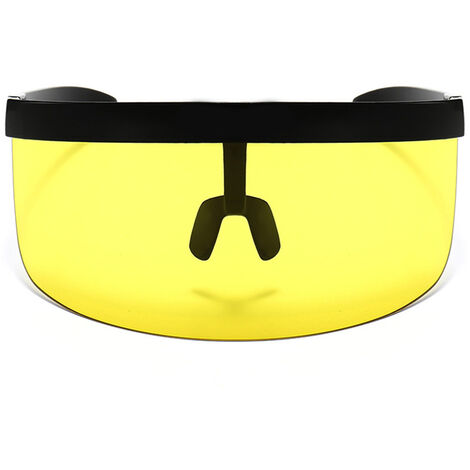 Half Face Mask Sun Protection Goggles Large Mirror Sun Glasses, Black frame yellow