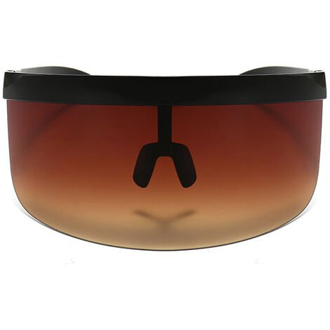 Half Face Mask Sun Protection Goggles Large Mirror Sun Glasses, Dark brown with black frame